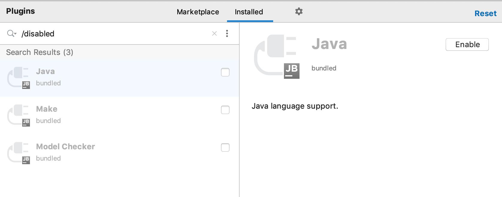 Disabled plugins settings