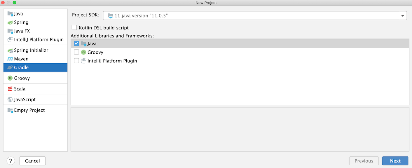 New Project dialog: select Gradle