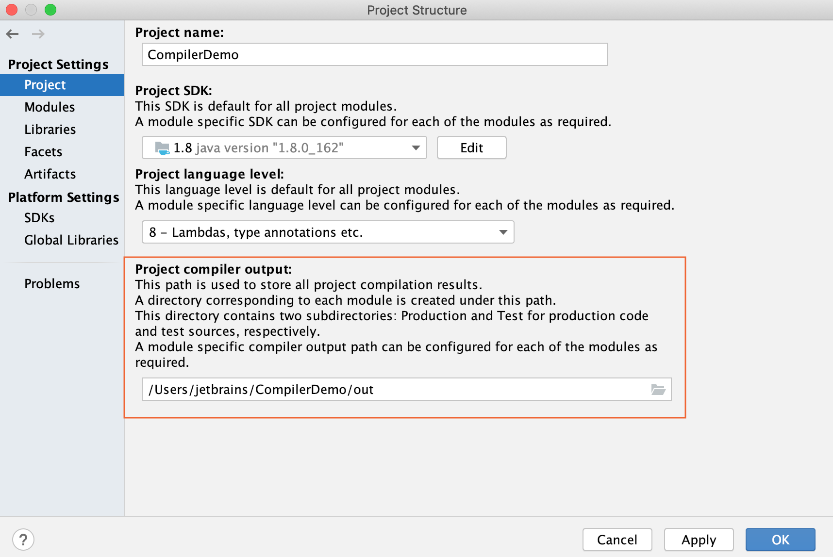 Project Structure dialog / Projects page