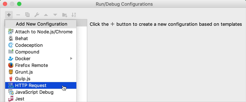 Add new HTTP Request Run Configuration