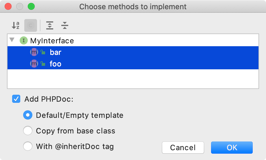 The Choose Methods to Implement dialog