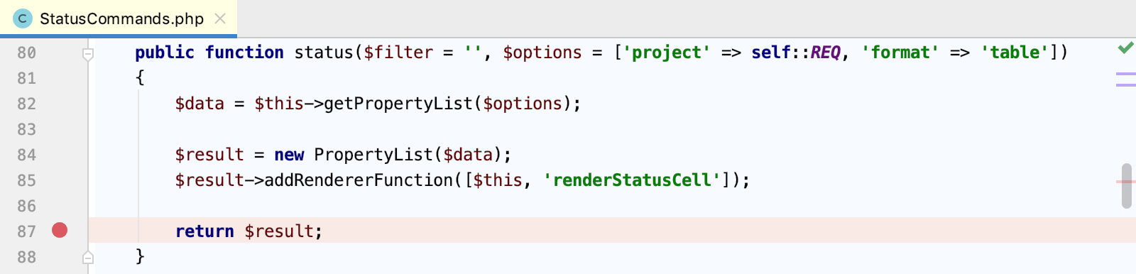 Set a breakpoint in a Drupal command