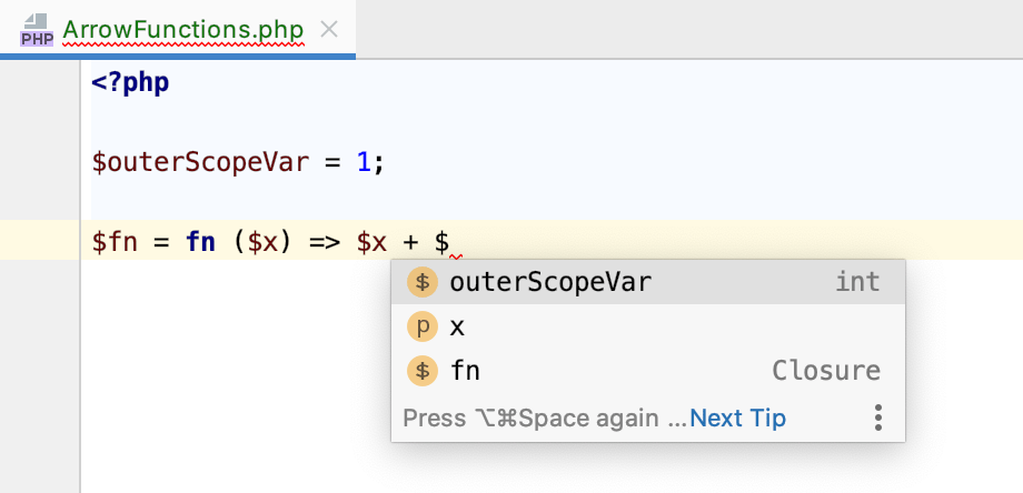 Outer scope variables completion inside a closure