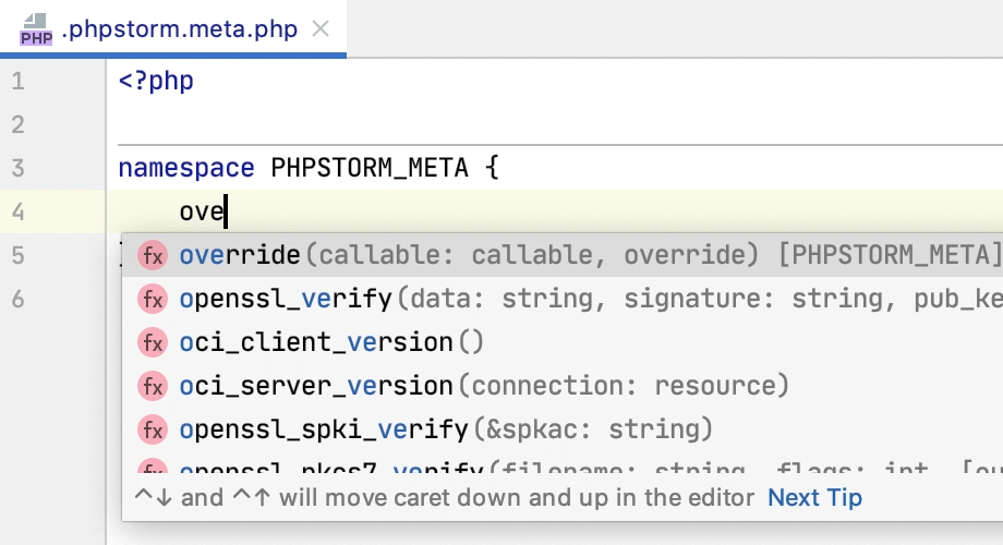 Code Completion in a Meta File