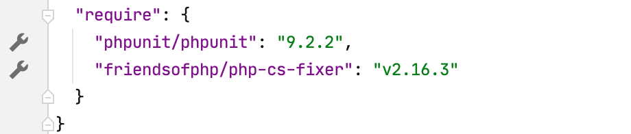 the Open Settings button in the gutter of composer.json