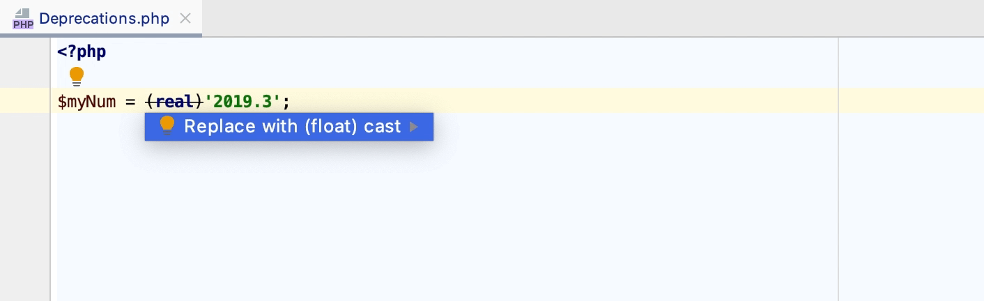Converting the deprecated real cast inspection
