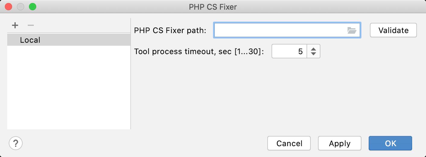 Empty PHP CS Fixer path field