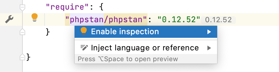 Enable the PHPStan inspection