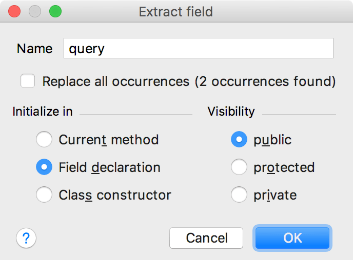 Extract Field Dialog