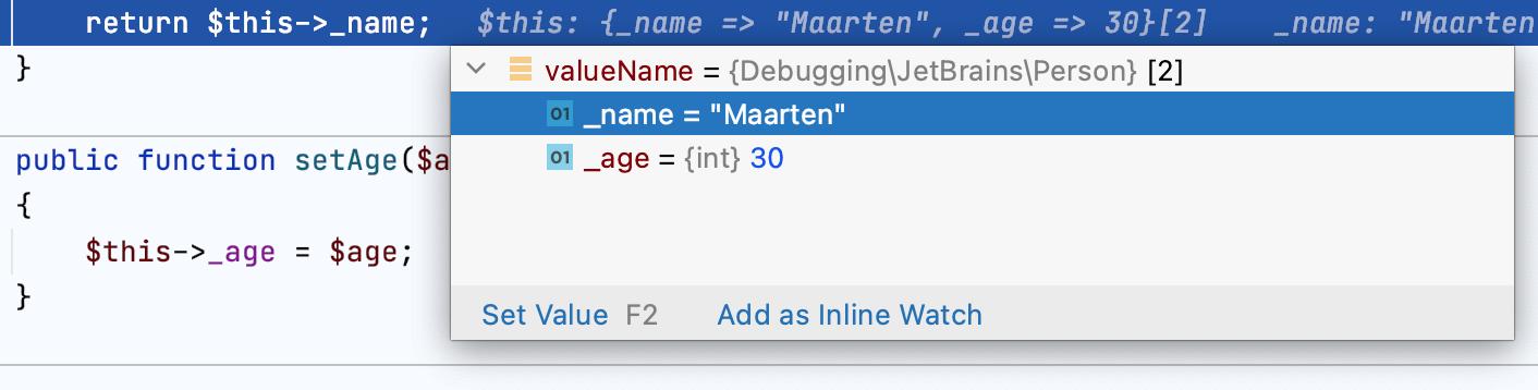 Inline debugger hints