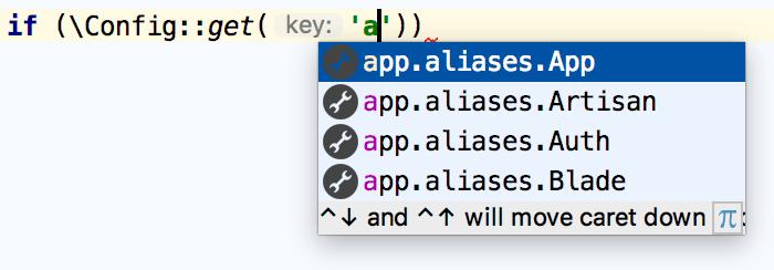 Laravel configuration key completion