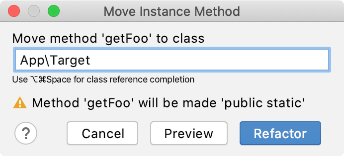 Make Method Static prompt