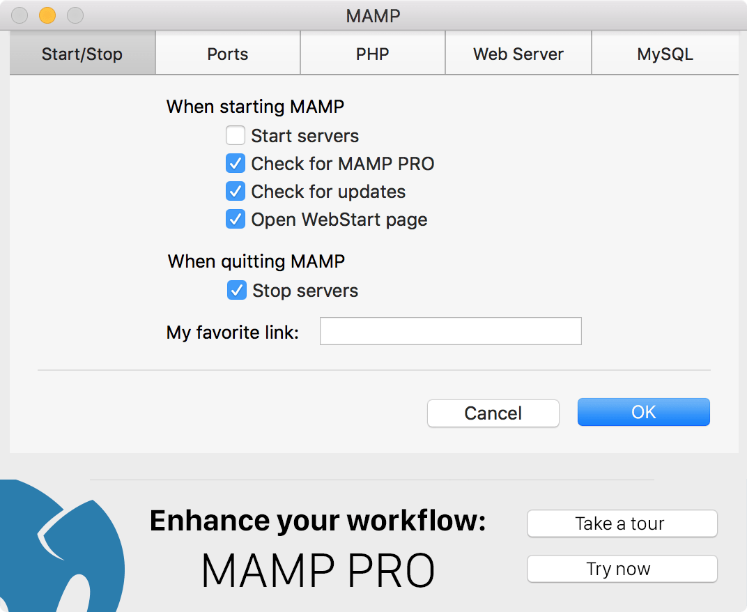 Configure MAMP servers