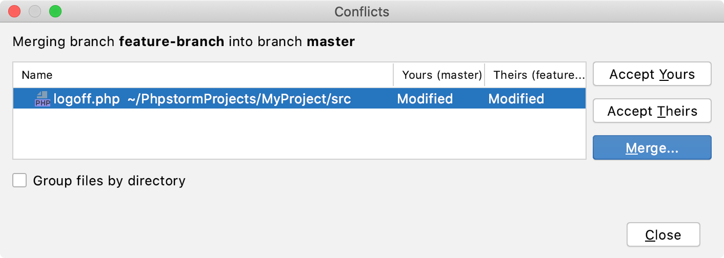 PhpStorm: VCS operation conflicts dialog