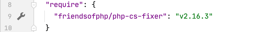 Gutter icon for php-cs-fixer settings in composer.json