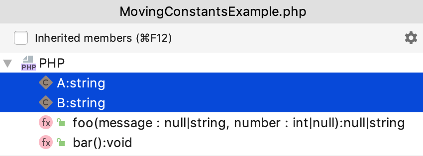 Select several constants to move in the Structure popup