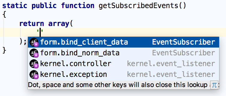 Symfony events array name completion