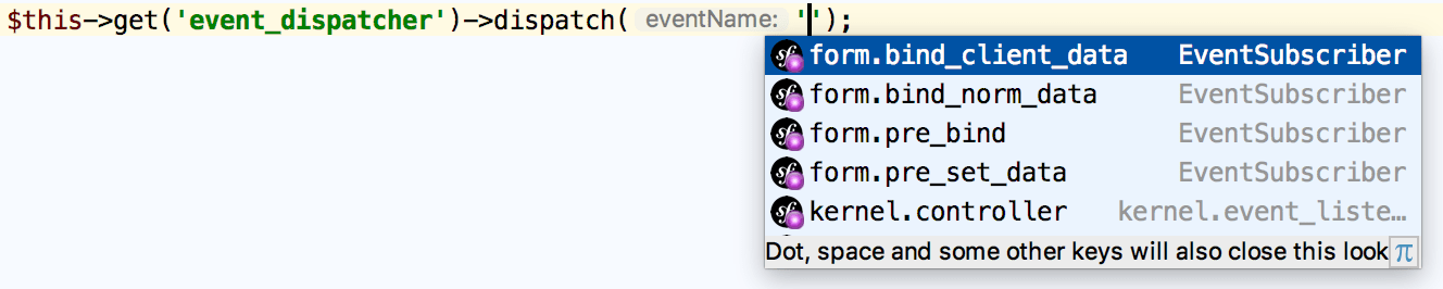 Symfony events name completion