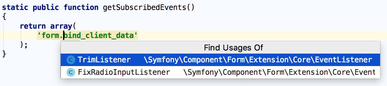 Navigating to Symfony event declaration
