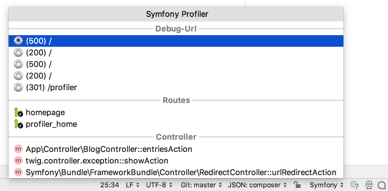 Symfony profiler toolbar