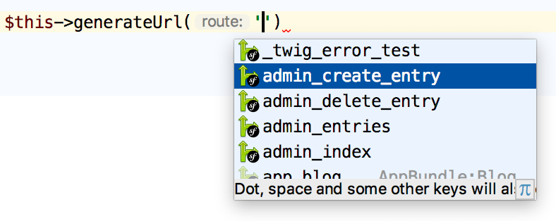 Symfony route name controller completion