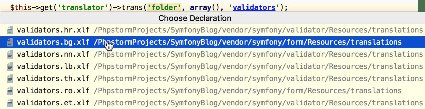 Navigate to Symfony translation domain