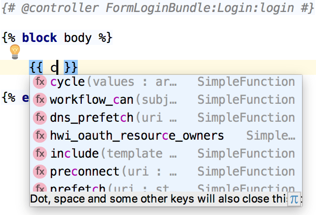 Twig variable name completion