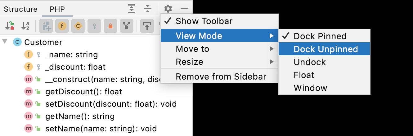 Tool window view mode