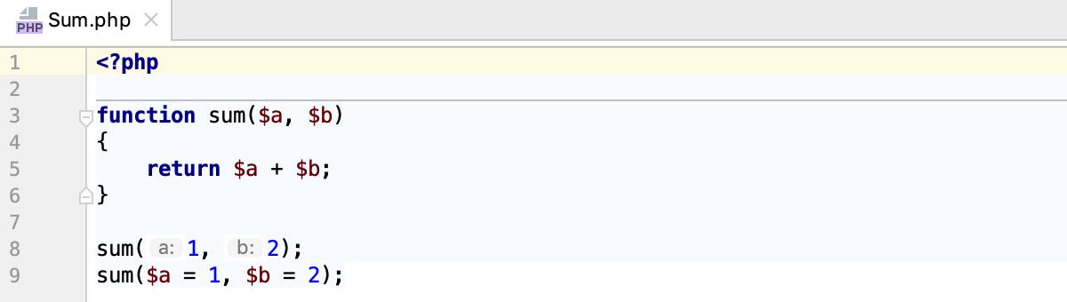 Parameter hints for literals