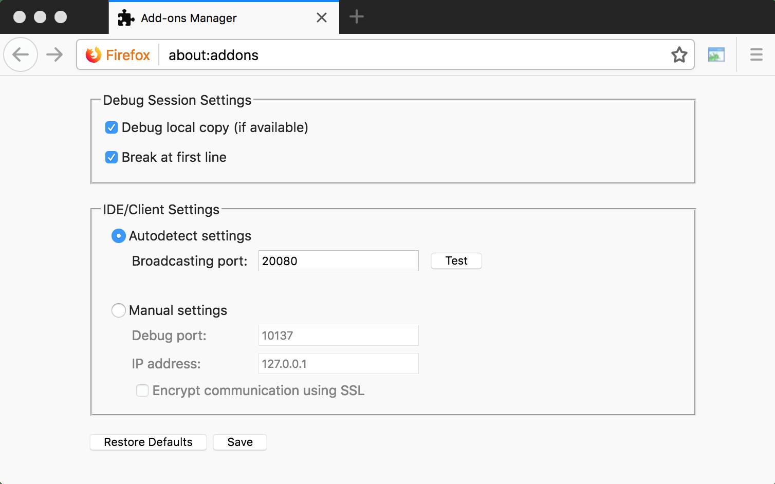 Zend debugger extension in Firefox