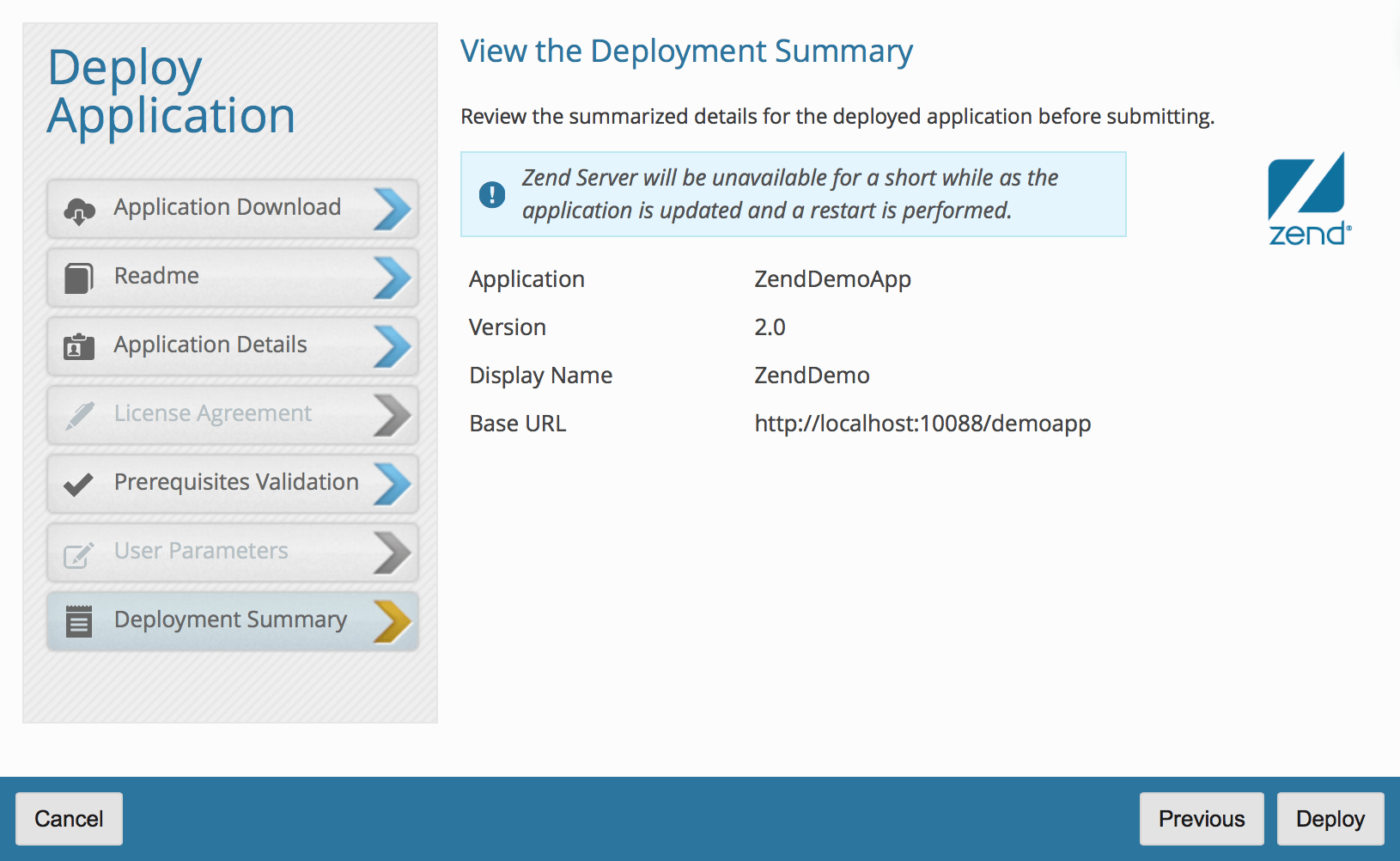 Zend demo app: review summary
