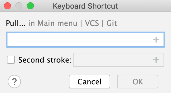 the Keyboard shortcut dialog