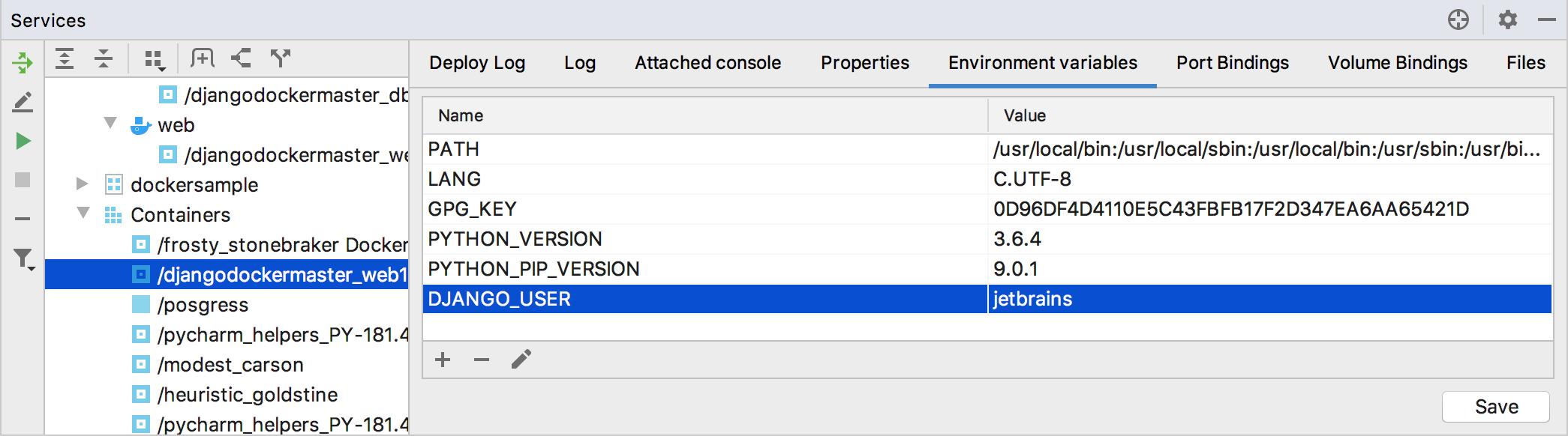 The Environment Variables tab