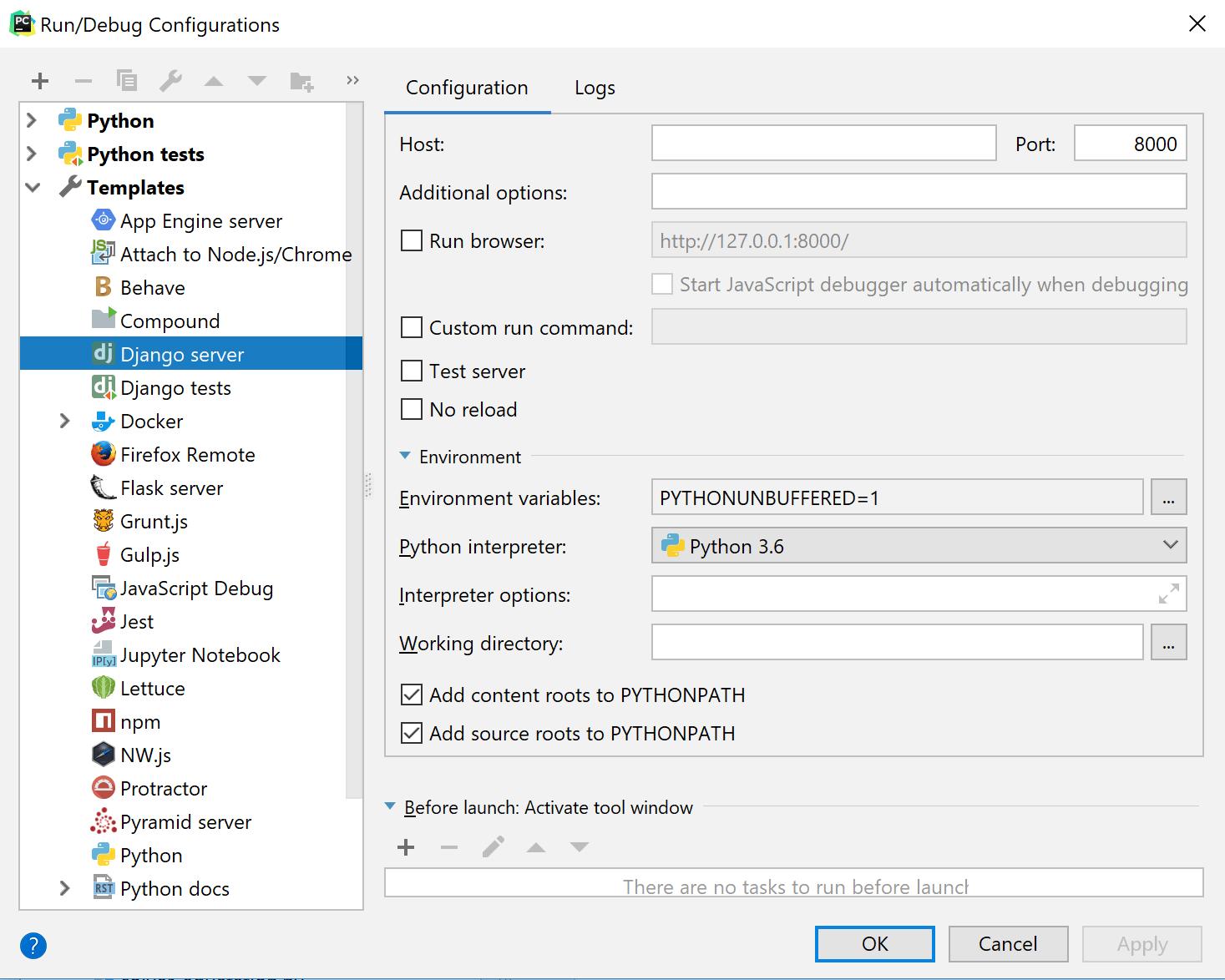Run/Debug templates