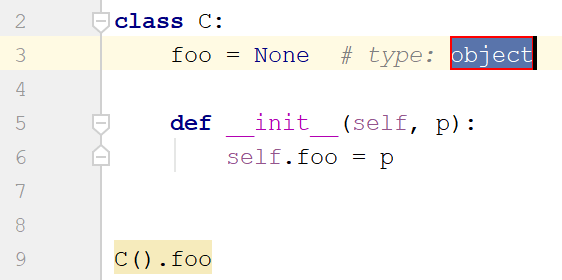 example of adding a type hint for a class attribute (Python 2)