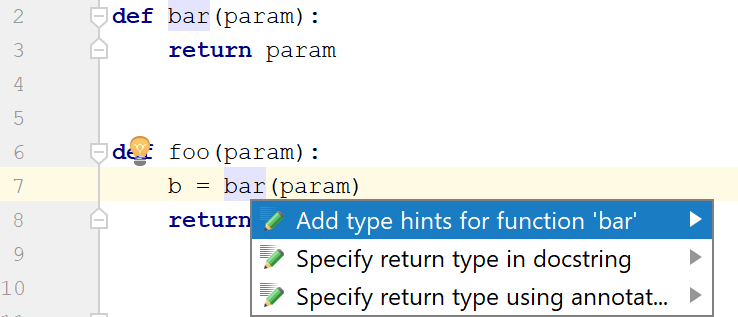 example of adding a type hint for a function