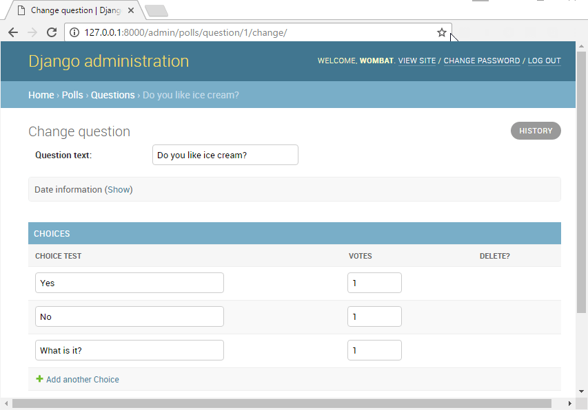 Change question page