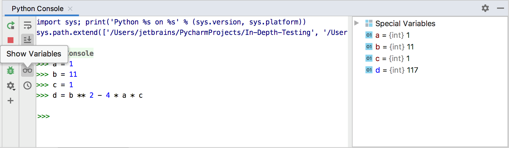 Show variables in the Python console
