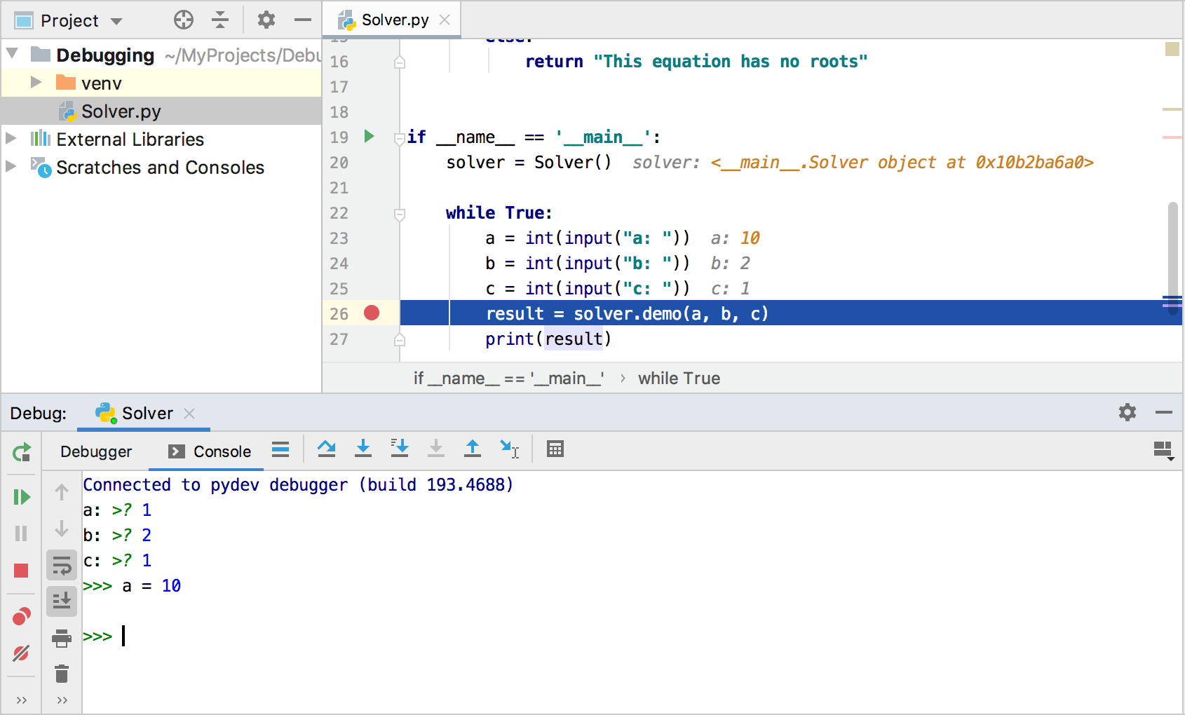 Debugging using the prompt console
