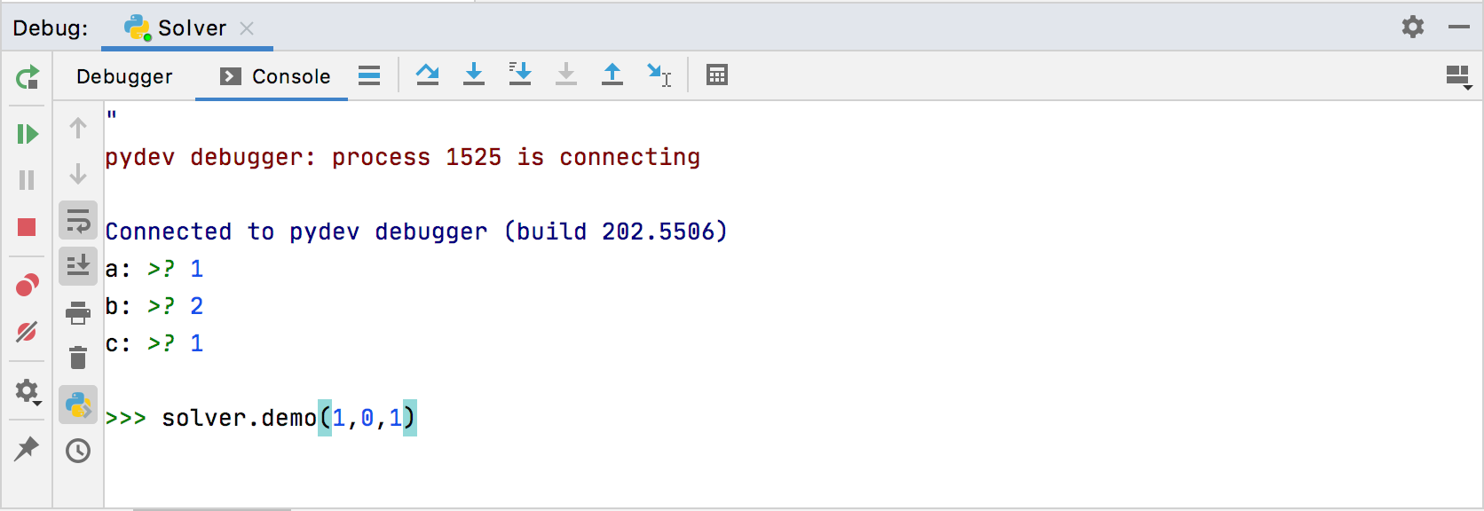 Using a Python prompt in the debug console