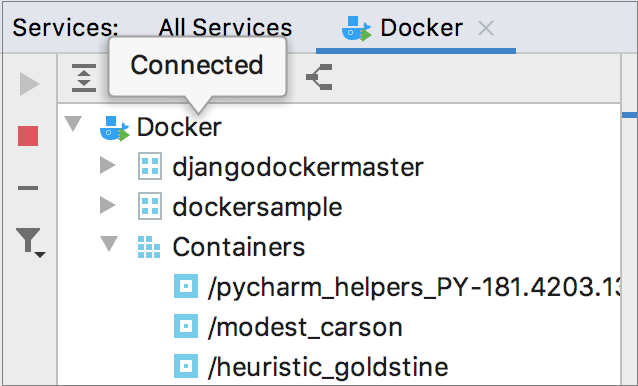 The Docker tool window, connected to Docker