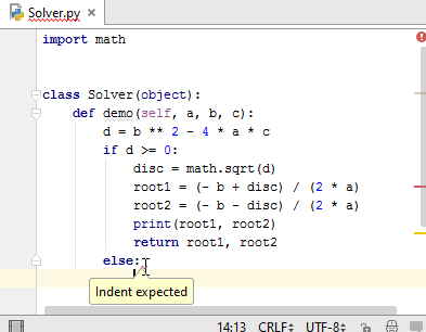 Py else indent expected