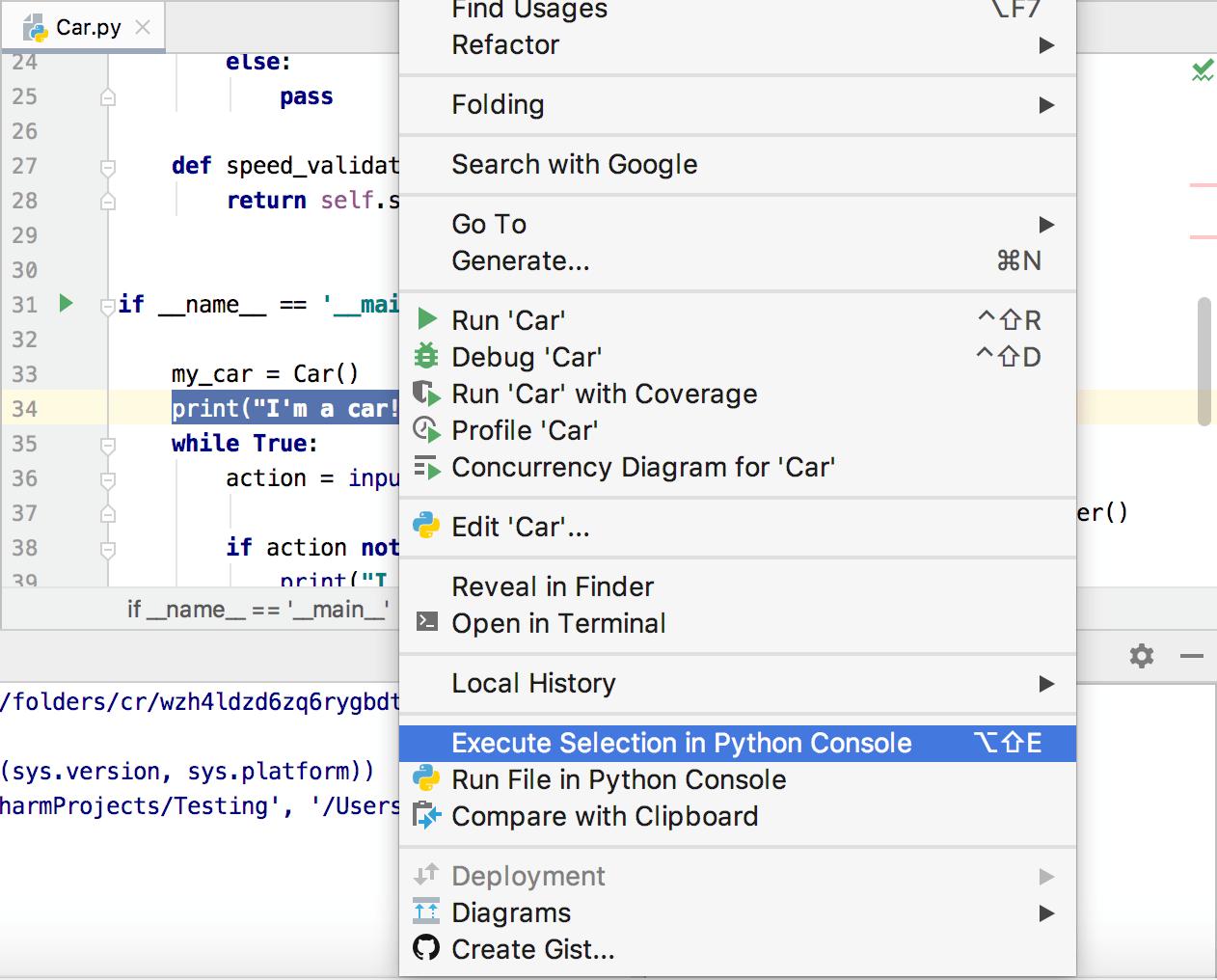 Context menu for executing the code selection