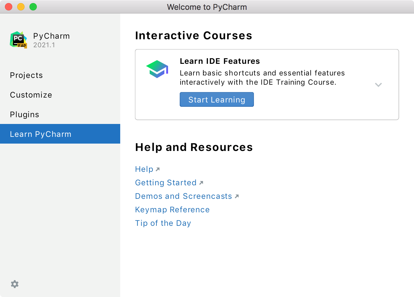 Welcome screen: the Features Trainer plugin is enabled