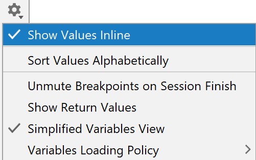 Show values inline