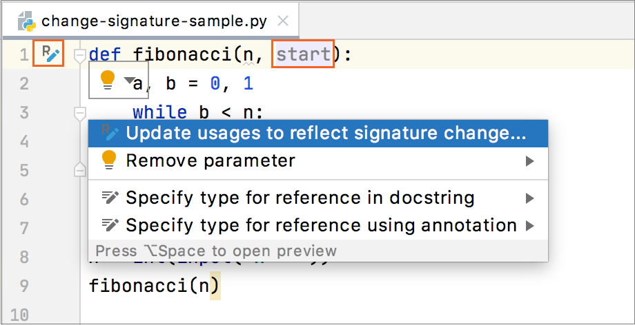 In-place change signature refactoring