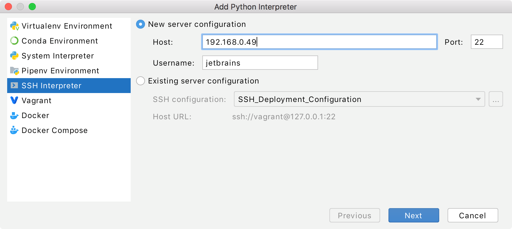 adding an interpreter via SSH