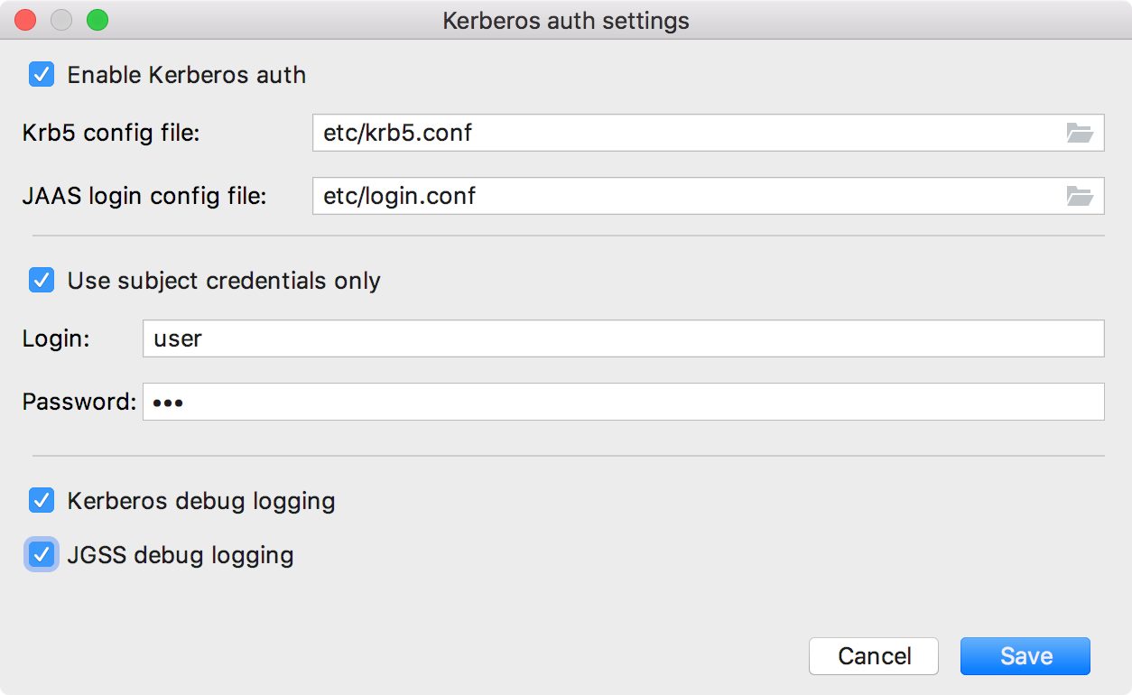 Kerberos settings