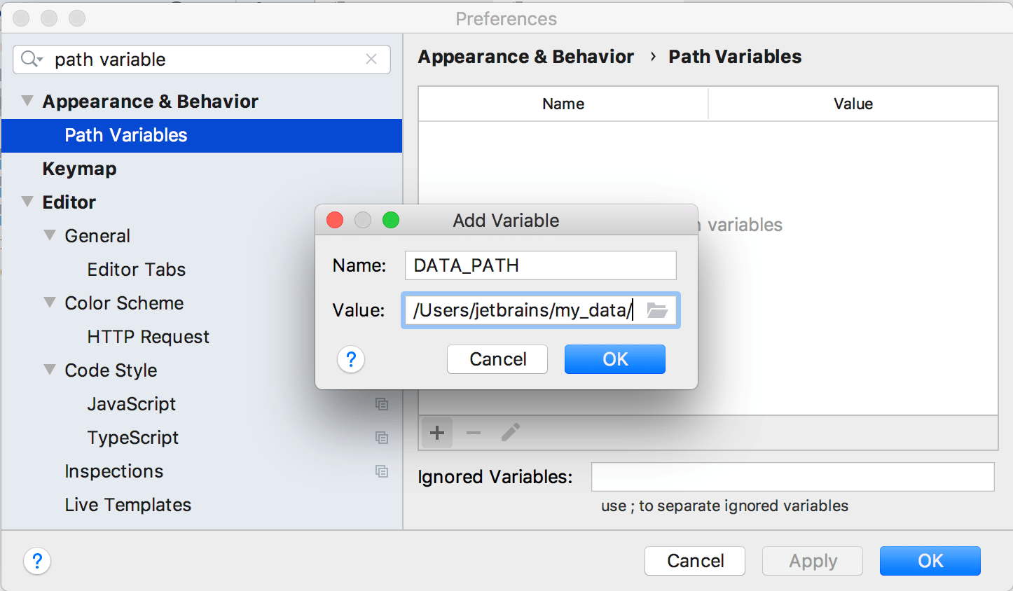 Adding a new path variable