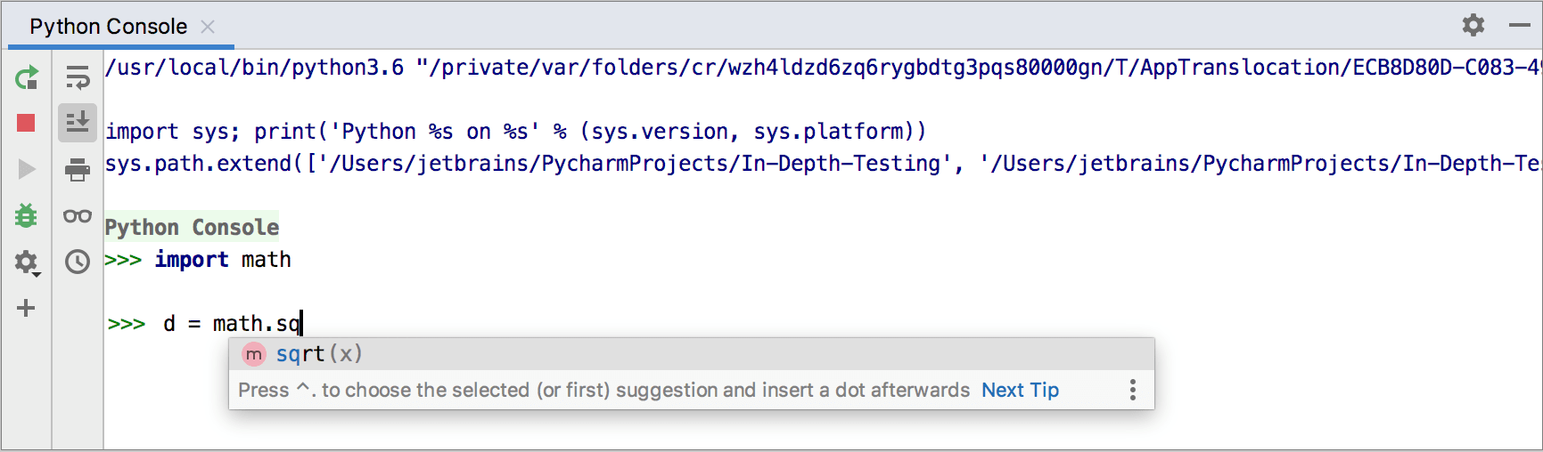 Code completion in the Python console